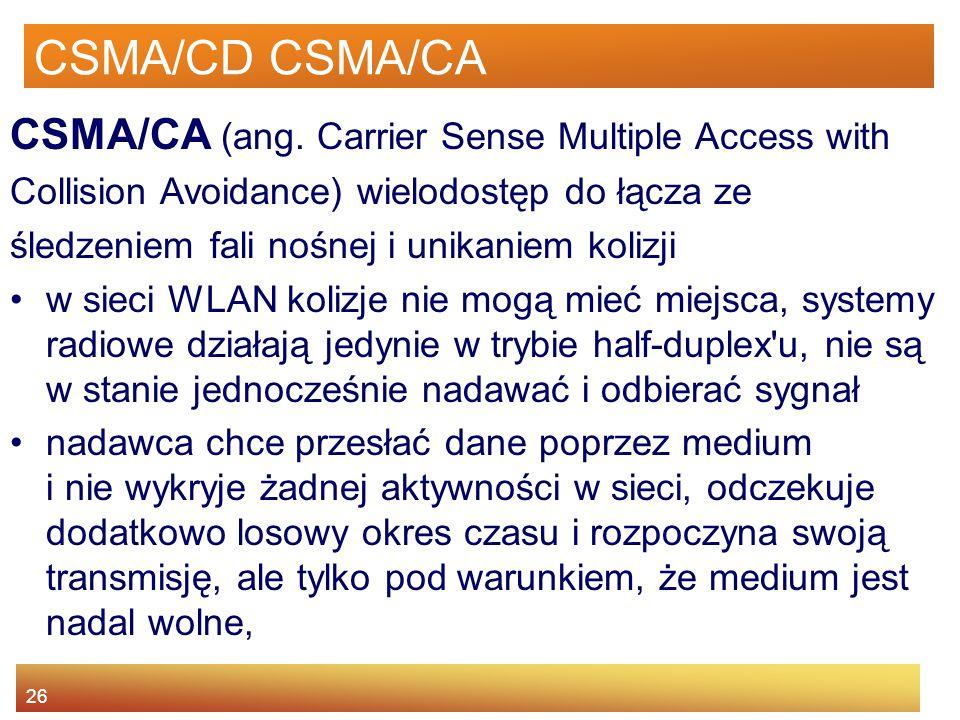 26 CSMA/CD CSMA/CA CSMA/CA (ang. Carrier Sense Multiple Access with Collision Avoidance) wielodostęp do łącza ze śledzeniem fali nośnej i unikaniem ko