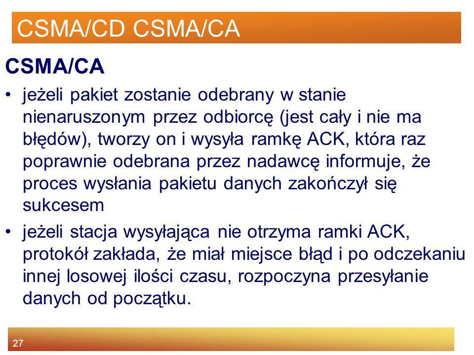 27 CSMA/CD CSMA/CA CSMA/CA jeżeli pakiet zostanie odebrany w stanie nienaruszonym przez odbiorcę (jest cały i nie ma błędów), tworzy on i wysyła ramkę