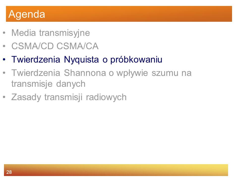 28 Agenda Media transmisyjne CSMA/CD CSMA/CA Twierdzenia Nyquista o próbkowaniu Twierdzenia Shannona o wpływie szumu na transmisje danych Zasady trans