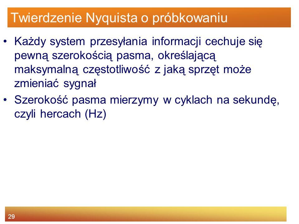 29 Twierdzenie Nyquista o próbkowaniu Każdy system przesyłania informacji cechuje się pewną szerokością pasma, określającą maksymalną częstotliwość z