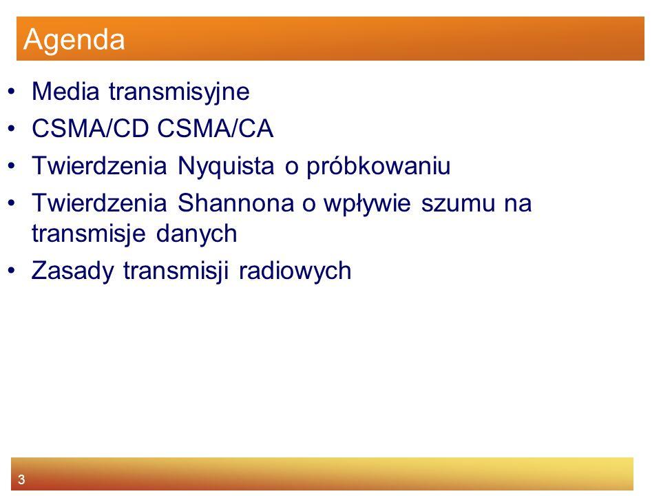 3 Agenda Media transmisyjne CSMA/CD CSMA/CA Twierdzenia Nyquista o próbkowaniu Twierdzenia Shannona o wpływie szumu na transmisje danych Zasady transm