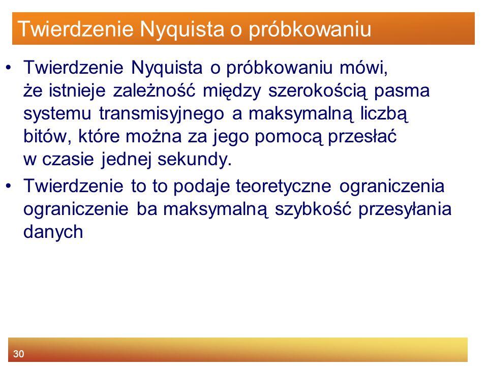 30 Twierdzenie Nyquista o próbkowaniu Twierdzenie Nyquista o próbkowaniu mówi, że istnieje zależność między szerokością pasma systemu transmisyjnego a