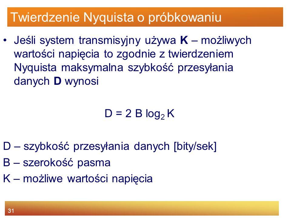 31 Twierdzenie Nyquista o próbkowaniu Jeśli system transmisyjny używa K – możliwych wartości napięcia to zgodnie z twierdzeniem Nyquista maksymalna sz
