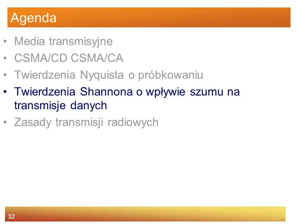 32 Agenda Media transmisyjne CSMA/CD CSMA/CA Twierdzenia Nyquista o próbkowaniu Twierdzenia Shannona o wpływie szumu na transmisje danych Zasady trans
