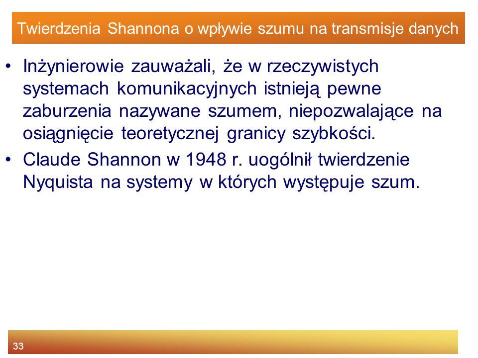 33 Twierdzenia Shannona o wpływie szumu na transmisje danych Inżynierowie zauważali, że w rzeczywistych systemach komunikacyjnych istnieją pewne zabur