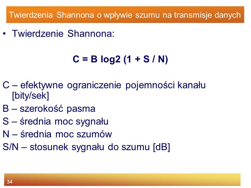 34 Twierdzenia Shannona o wpływie szumu na transmisje danych Twierdzenie Shannona: C = B log2 (1 + S / N) C – efektywne ograniczenie pojemności kanału