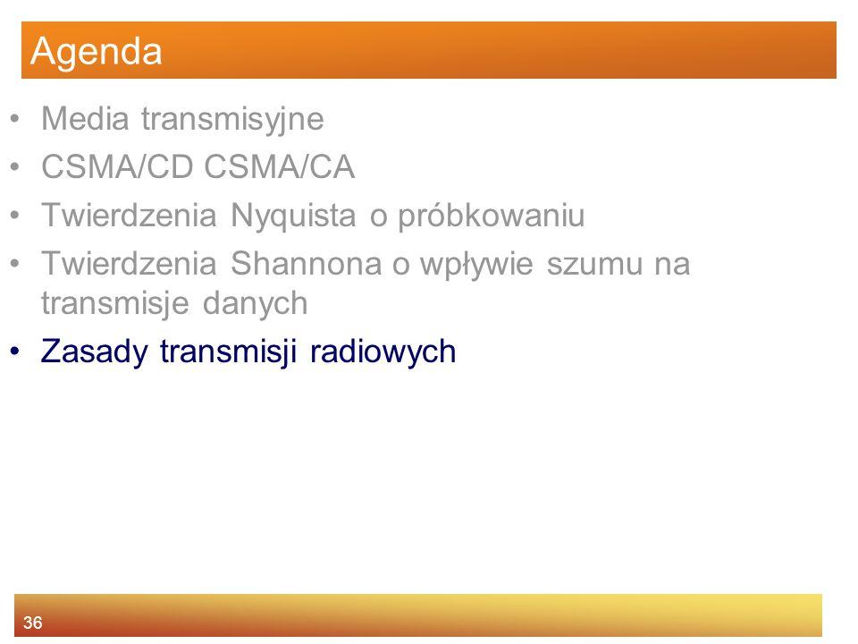 36 Agenda Media transmisyjne CSMA/CD CSMA/CA Twierdzenia Nyquista o próbkowaniu Twierdzenia Shannona o wpływie szumu na transmisje danych Zasady trans