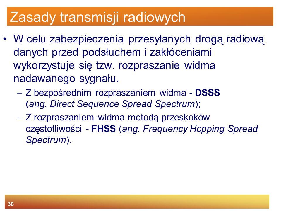 38 Zasady transmisji radiowych W celu zabezpieczenia przesyłanych drogą radiową danych przed podsłuchem i zakłóceniami wykorzystuje się tzw. rozprasza