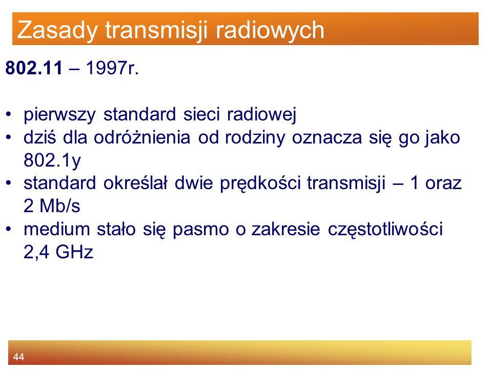 44 Zasady transmisji radiowych 802.11 – 1997r. pierwszy standard sieci radiowej dziś dla odróżnienia od rodziny oznacza się go jako 802.1y standard ok