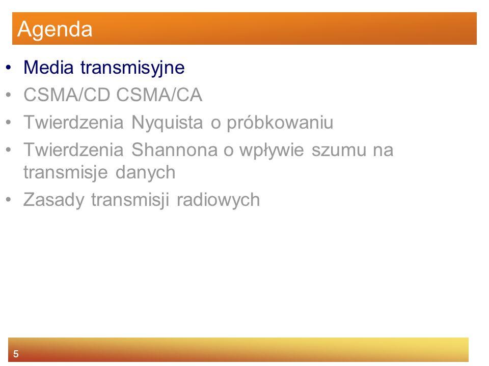5 Agenda Media transmisyjne CSMA/CD CSMA/CA Twierdzenia Nyquista o próbkowaniu Twierdzenia Shannona o wpływie szumu na transmisje danych Zasady transm