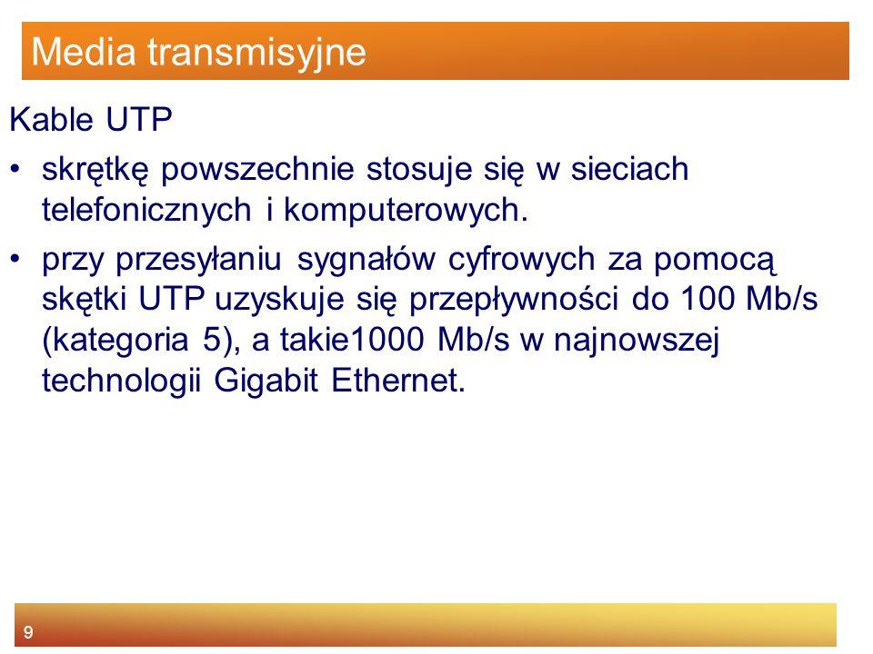 9 Media transmisyjne Kable UTP skrętkę powszechnie stosuje się w sieciach telefonicznych i komputerowych. przy przesyłaniu sygnałów cyfrowych za pomoc
