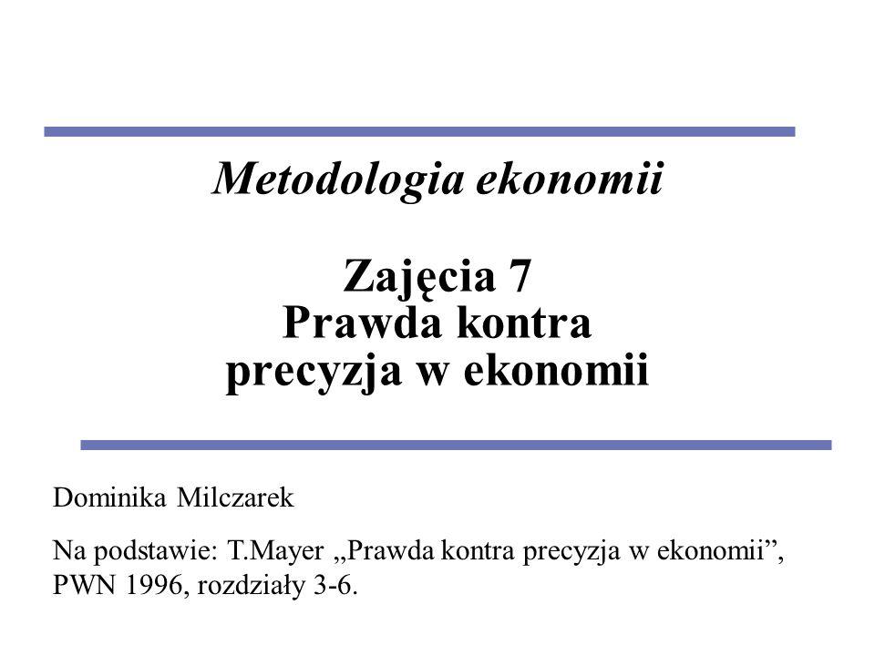 """Metodologia ekonomii Zajęcia 7 Prawda kontra precyzja w ekonomii Dominika Milczarek Na podstawie: T.Mayer """"Prawda kontra precyzja w ekonomii , PWN 1996, rozdziały 3-6."""