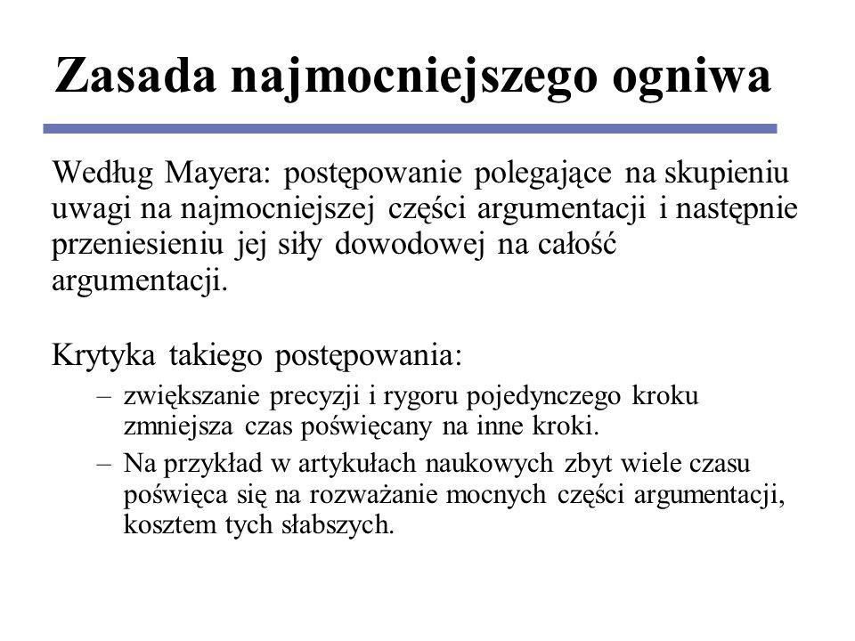 Zasada najmocniejszego ogniwa Według Mayera: postępowanie polegające na skupieniu uwagi na najmocniejszej części argumentacji i następnie przeniesieniu jej siły dowodowej na całość argumentacji.