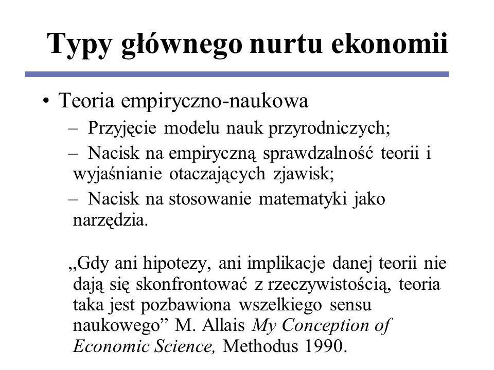 Typy głównego nurtu ekonomii Teoria empiryczno-naukowa – Przyjęcie modelu nauk przyrodniczych; – Nacisk na empiryczną sprawdzalność teorii i wyjaśnianie otaczających zjawisk; – Nacisk na stosowanie matematyki jako narzędzia.