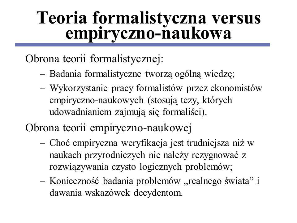Teoria formalistyczna versus empiryczno-naukowa Obrona teorii formalistycznej: –Badania formalistyczne tworzą ogólną wiedzę; –Wykorzystanie pracy formalistów przez ekonomistów empiryczno-naukowych (stosują tezy, których udowadnianiem zajmują się formaliści).