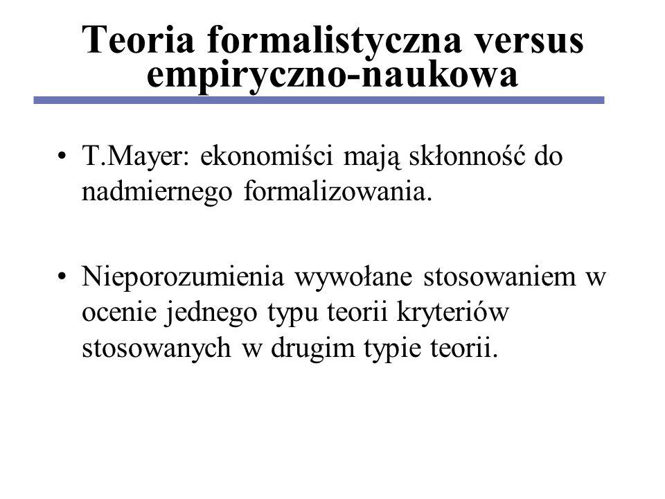 Teoria formalistyczna versus empiryczno-naukowa T.Mayer: ekonomiści mają skłonność do nadmiernego formalizowania.