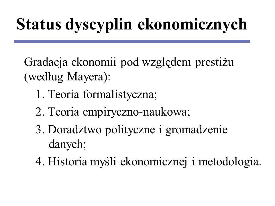 Status dyscyplin ekonomicznych Gradacja ekonomii pod względem prestiżu (według Mayera): 1.