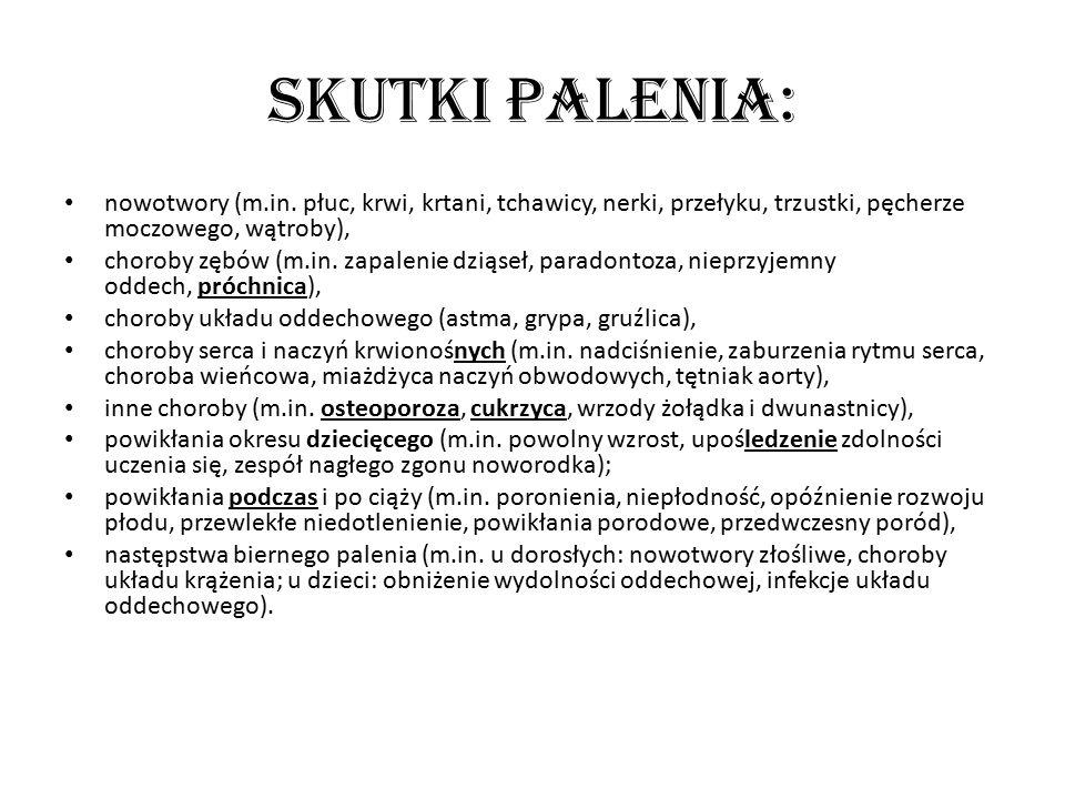 Skutki palenia: nowotwory (m.in. płuc, krwi, krtani, tchawicy, nerki, przełyku, trzustki, pęcherze moczowego, wątroby), choroby zębów (m.in. zapalenie