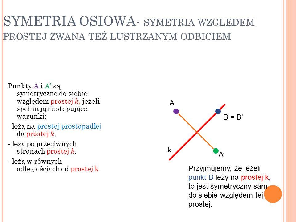 SYMETRIA OSIOWA- SYMETRIA WZGLĘDEM PROSTEJ ZWANA TEŻ LUSTRZANYM ODBICIEM Punkty A i A' są symetryczne do siebie względem prostej k, jeżeli spełniają n