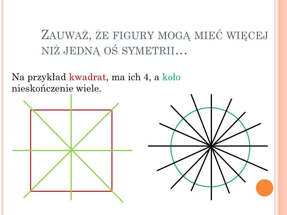 Z AUWAŻ, ŻE FIGURY MOGĄ MIEĆ WIĘCEJ NIŻ JEDNĄ OŚ SYMETRII … Na przykład kwadrat, ma ich 4, a koło nieskończenie wiele.