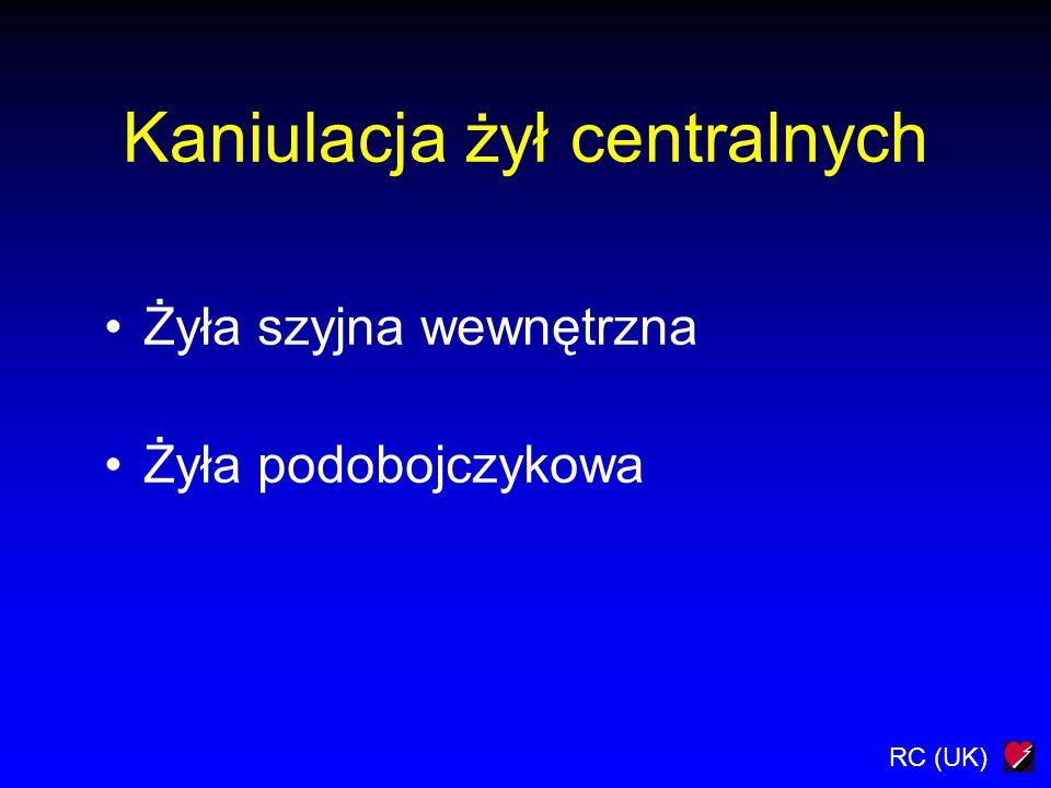 RC (UK) Kaniulacja żył centralnych Żyła szyjna wewnętrzna Żyła podobojczykowa