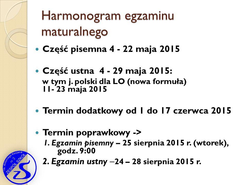 Część pisemna 4 - 22 maja 2015 Część ustna 4 - 29 maja 2015: w tym j. polski dla LO (nowa formuła) 11- 23 maja 2015 Termin dodatkowy od 1 do 17 czerwc