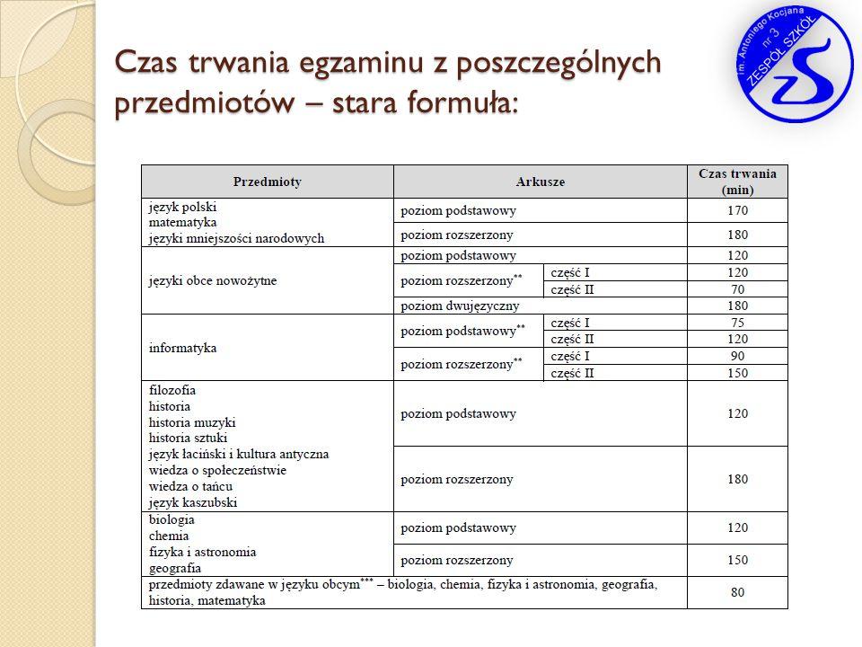 Czas trwania egzaminu z poszczególnych przedmiotów – stara formuła: