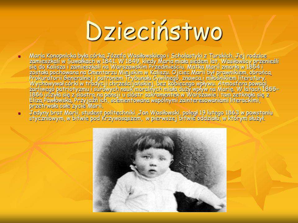 Dzieciństwo Maria Konopnicka była córką Józefa Wasiłowskiego i Scholastyki z Turskich. Jej rodzice zamieszkali w Suwałkach w 1841. W 1849, kiedy Maria