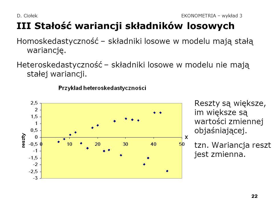 22 D. Ciołek EKONOMETRIA – wykład 3 III Stałość wariancji składników losowych Homoskedastyczność – składniki losowe w modelu mają stałą wariancję. Het