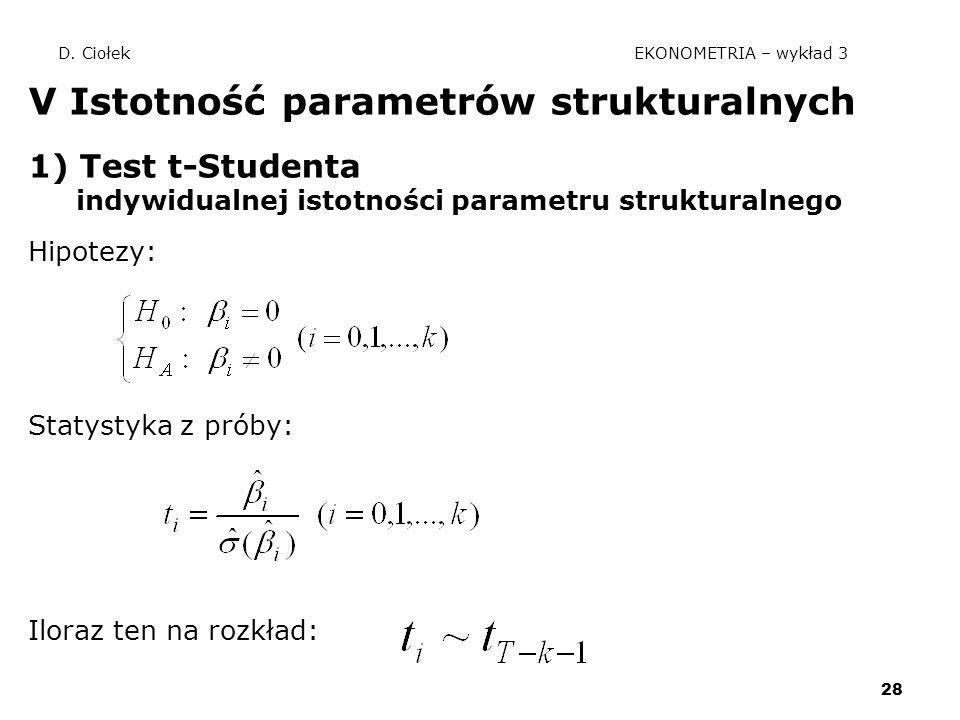 28 D. Ciołek EKONOMETRIA – wykład 3 V Istotność parametrów strukturalnych 1) Test t-Studenta indywidualnej istotności parametru strukturalnego Hipotez