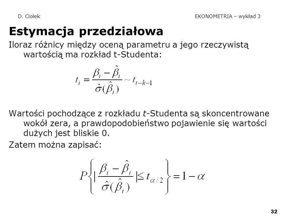 32 D. Ciołek EKONOMETRIA – wykład 3 Estymacja przedziałowa Iloraz różnicy między oceną parametru a jego rzeczywistą wartością ma rozkład t-Studenta: W