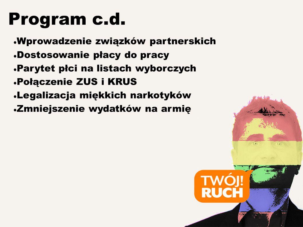 Wprowadzenie związków partnerskich Dostosowanie płacy do pracy Parytet płci na listach wyborczych Połączenie ZUS i KRUS Legalizacja miękkich narkotyków Zmniejszenie wydatków na armię Program c.d.