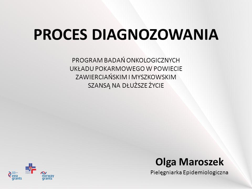 PROCES DIAGNOZOWANIA PROGRAM BADAŃ ONKOLOGICZNYCH UKŁADU POKARMOWEGO W POWIECIE ZAWIERCIAŃSKIM I MYSZKOWSKIM SZANSĄ NA DŁUŻSZE ŻYCIE Olga Maroszek Pie