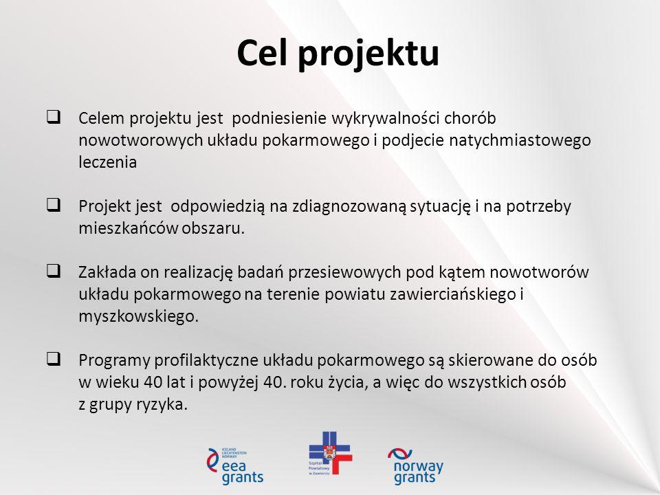 Cel projektu  Celem projektu jest podniesienie wykrywalności chorób nowotworowych układu pokarmowego i podjecie natychmiastowego leczenia  Projekt j