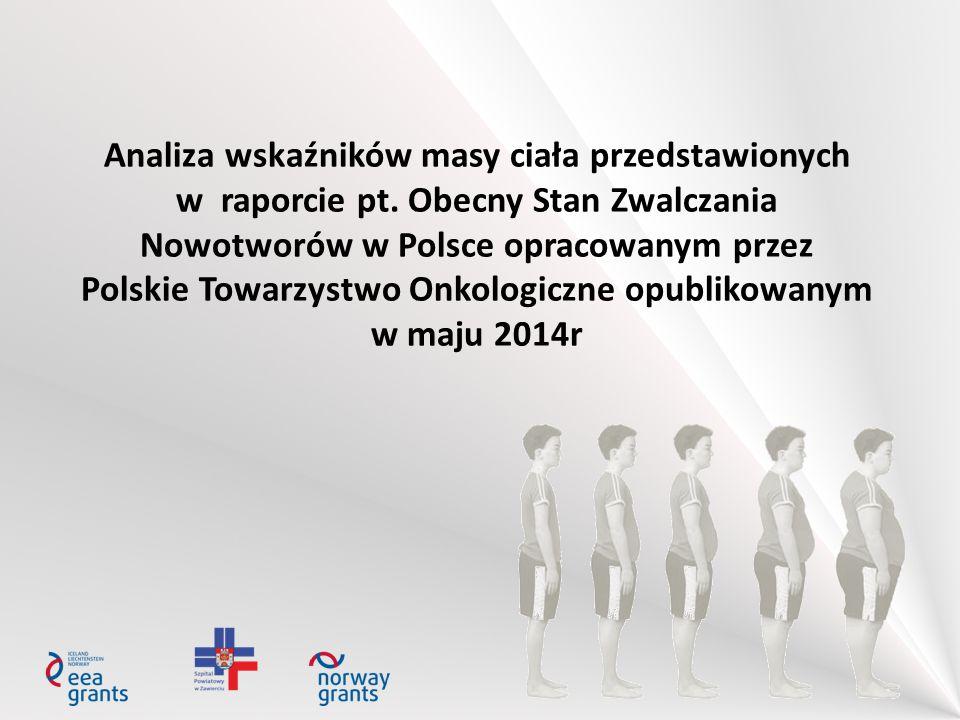Analiza wskaźników masy ciała przedstawionych w raporcie pt. Obecny Stan Zwalczania Nowotworów w Polsce opracowanym przez Polskie Towarzystwo Onkologi