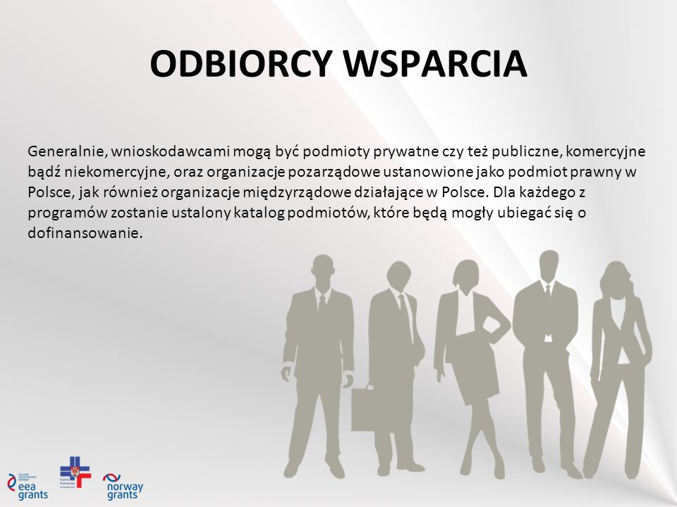ODBIORCY WSPARCIA Generalnie, wnioskodawcami mogą być podmioty prywatne czy też publiczne, komercyjne bądź niekomercyjne, oraz organizacje pozarządowe