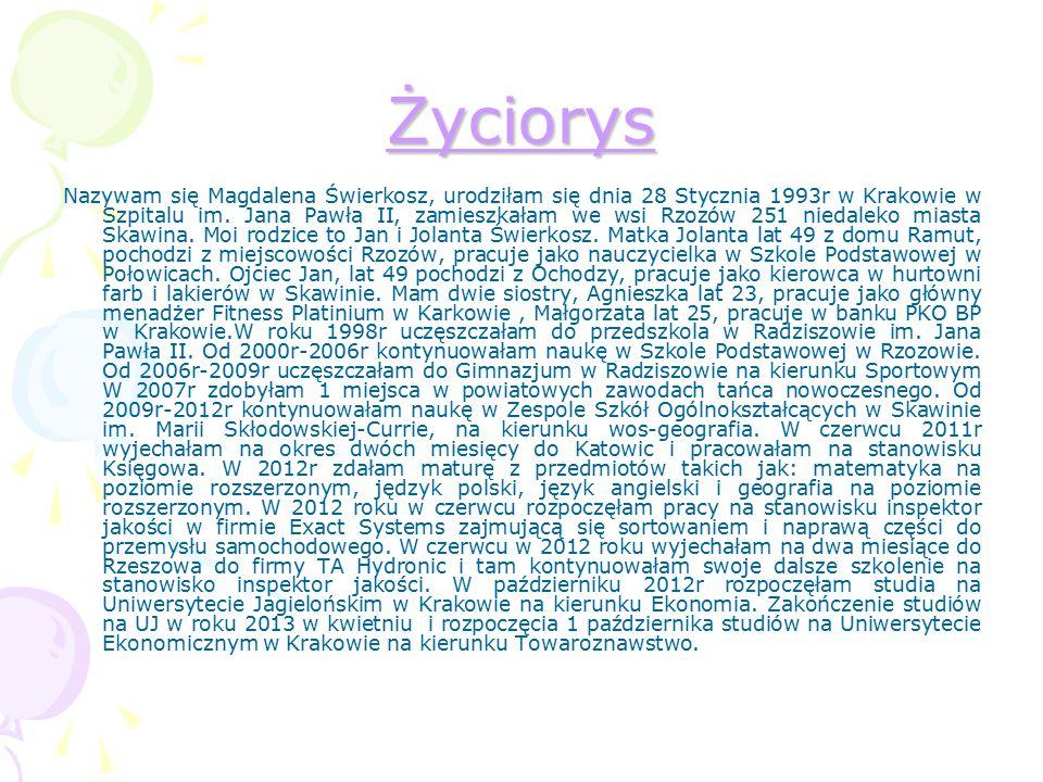 Życiorys Nazywam się Magdalena Świerkosz, urodziłam się dnia 28 Stycznia 1993r w Krakowie w Szpitalu im. Jana Pawła II, zamieszkałam we wsi Rzozów 251