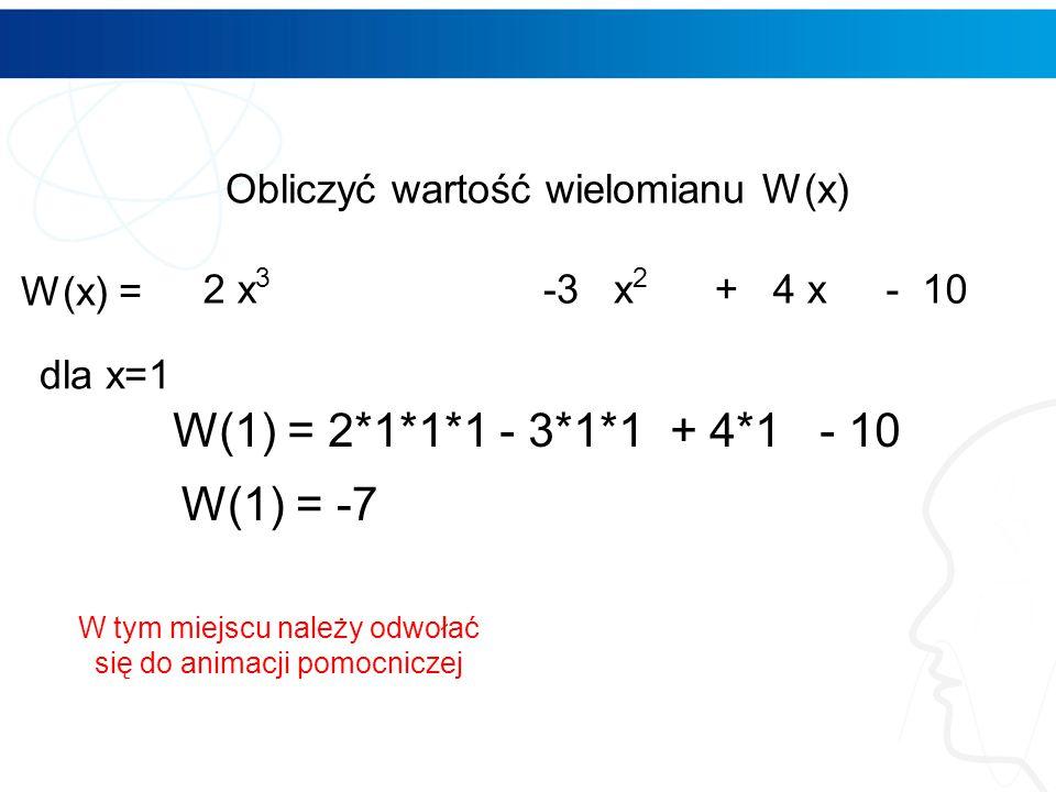 Obliczenia w Excelu wartości wielomianu Wprowadzamy współczynniki i formuły 5