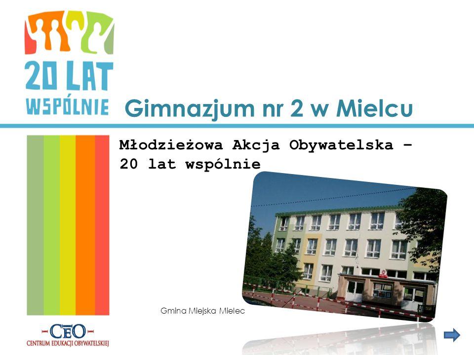 Gimnazjum nr 2 w Mielcu Młodzieżowa Akcja Obywatelska – 20 lat wspólnie Gmina Miejska Mielec