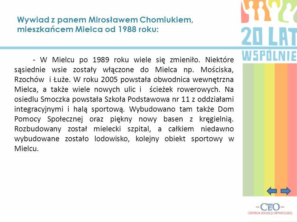Wywiad z panem Mirosławem Chomiukiem, mieszkańcem Mielca od 1988 roku: - W Mielcu po 1989 roku wiele się zmieniło. Niektóre sąsiednie wsie zostały włą