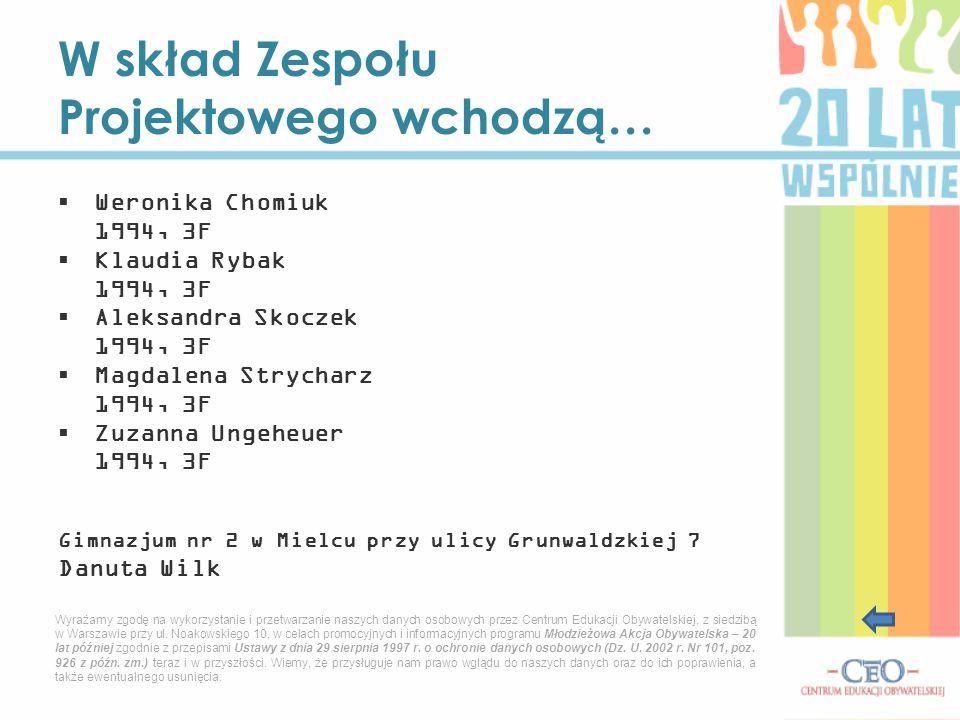 W skład Zespołu Projektowego wchodzą…  Weronika Chomiuk 1994, 3F  Klaudia Rybak 1994, 3F  Aleksandra Skoczek 1994, 3F  Magdalena Strycharz 1994, 3