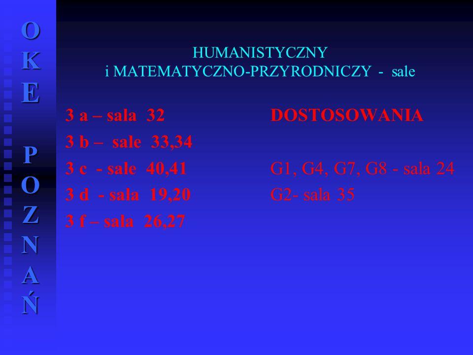 OKE POZNAŃ HUMANISTYCZNY i MATEMATYCZNO-PRZYRODNICZY - sale 3 a – sala 32 3 b – sale 33,34 3 c - sale 40,41 3 d - sala 19,20 3 f – sala 26,27 DOSTOSOW