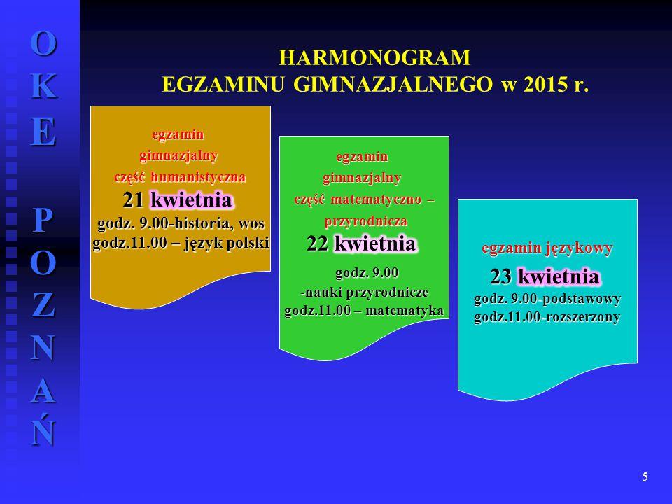 OKE POZNAŃ 5 HARMONOGRAM EGZAMINU GIMNAZJALNEGO w 2015 r.
