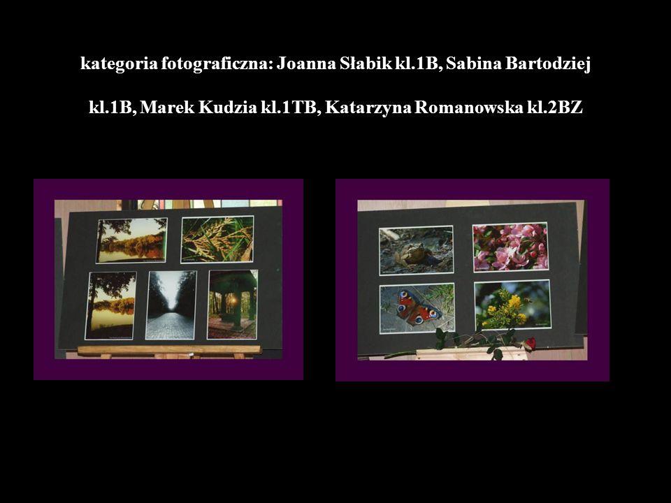 kategoria fotograficzna: Joanna Słabik kl.1B, Sabina Bartodziej kl.1B, Marek Kudzia kl.1TB, Katarzyna Romanowska kl.2BZ