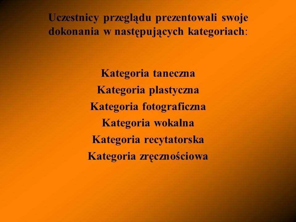 Uczestnicy przeglądu prezentowali swoje dokonania w następujących kategoriach: Kategoria taneczna Kategoria plastyczna Kategoria fotograficzna Kategoria wokalna Kategoria recytatorska Kategoria zręcznościowa