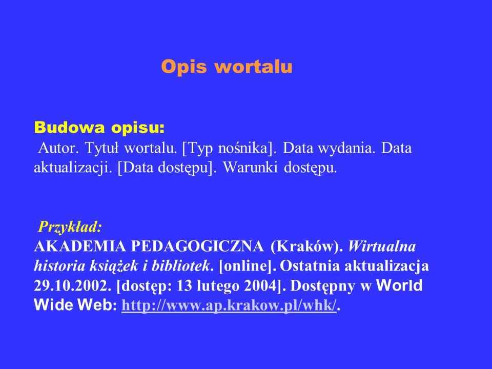 Opis publikacji istniejącej samoistnie w Internecie Budowa opisu: Autor.Tytuł pracy. [Typ nośnika]. Data wydania. Data aktualizacji. [Data dostępu]. W