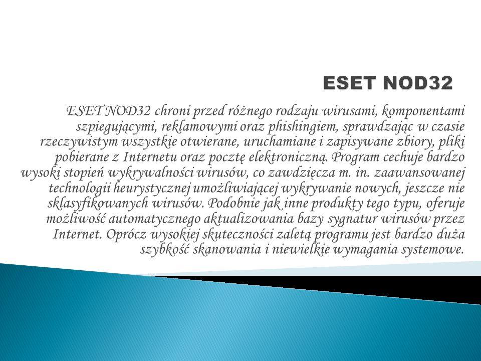 ESET NOD32 chroni przed różnego rodzaju wirusami, komponentami szpiegującymi, reklamowymi oraz phishingiem, sprawdzając w czasie rzeczywistym wszystkie otwierane, uruchamiane i zapisywane zbiory, pliki pobierane z Internetu oraz pocztę elektroniczną.