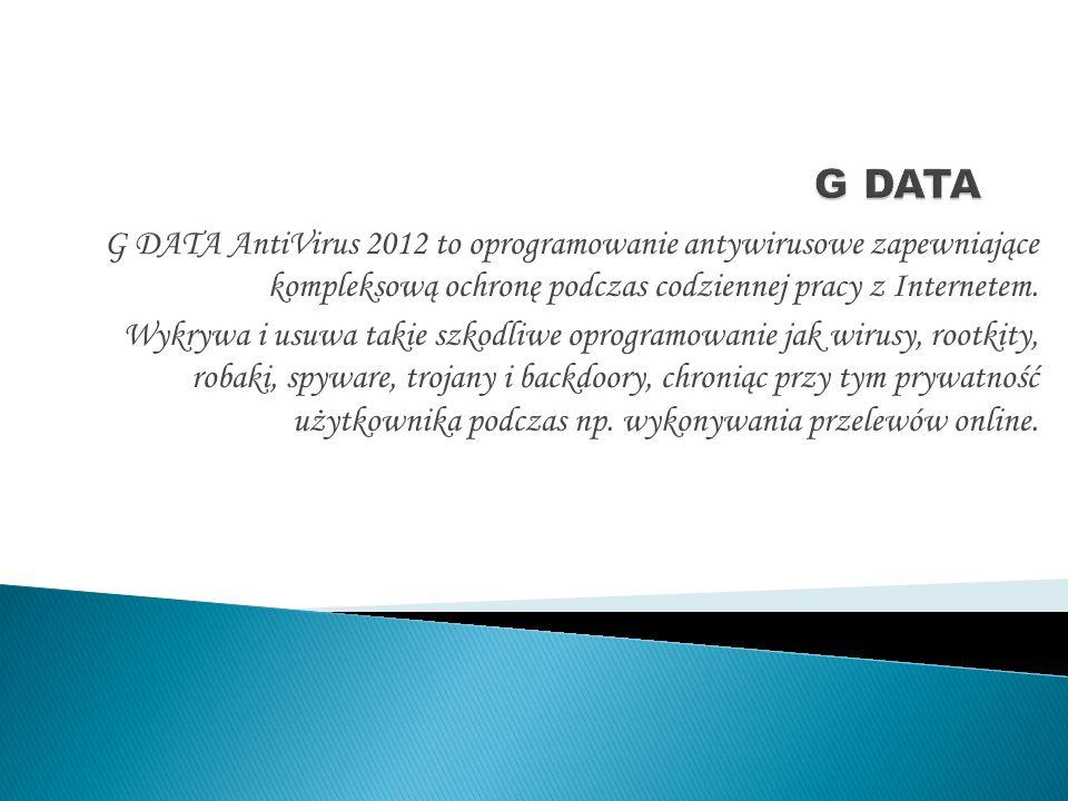 G DATA AntiVirus 2012 to oprogramowanie antywirusowe zapewniające kompleksową ochronę podczas codziennej pracy z Internetem.