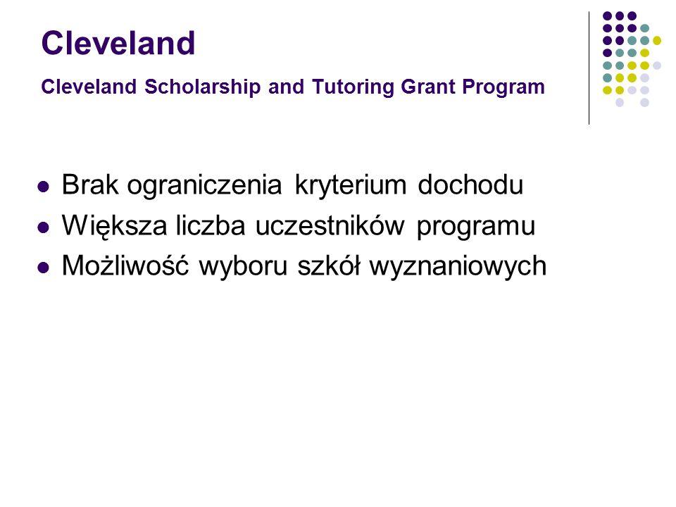 Cleveland Cleveland Scholarship and Tutoring Grant Program Brak ograniczenia kryterium dochodu Większa liczba uczestników programu Możliwość wyboru szkół wyznaniowych