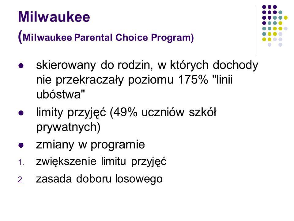 Milwaukee ( Milwaukee Parental Choice Program) skierowany do rodzin, w których dochody nie przekraczały poziomu 175% linii ubóstwa limity przyjęć (49% uczniów szkół prywatnych) zmiany w programie 1.